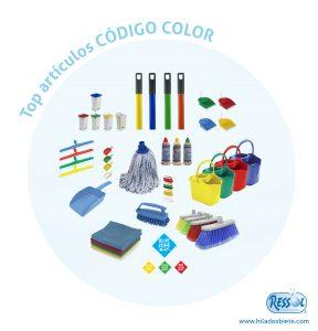 articulos de limpieza con código de color